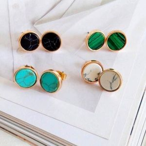 Jewelry - NEW Gold Round Turquoise Marble Stud Earrings